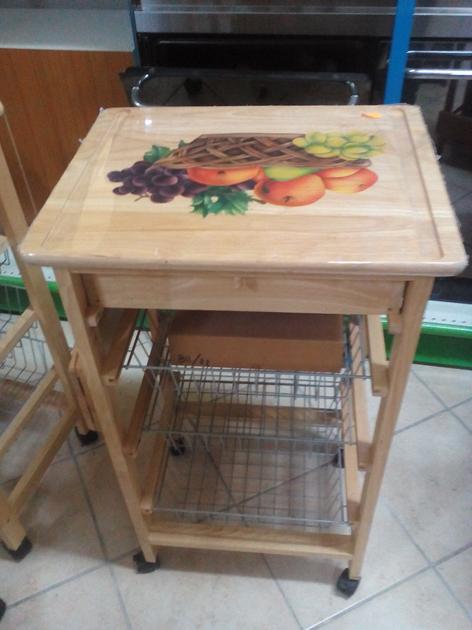 Carrello portafrutta in legno naturale - Portafrutta in legno ...